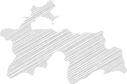 Tajikistan - pencil scribble sketch silhouette map of country area with dropped shadow. Simple flat vector illustration