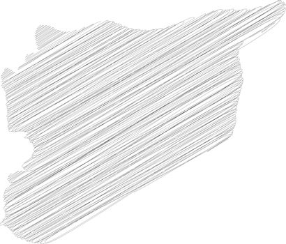 Syria - pencil scribble sketch silhouette map of country area with dropped shadow. Simple flat vector illustration