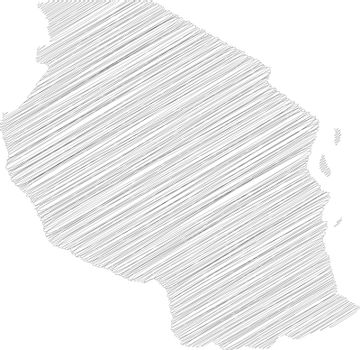 Tanzania - pencil scribble sketch silhouette map of country area with dropped shadow. Simple flat vector illustration