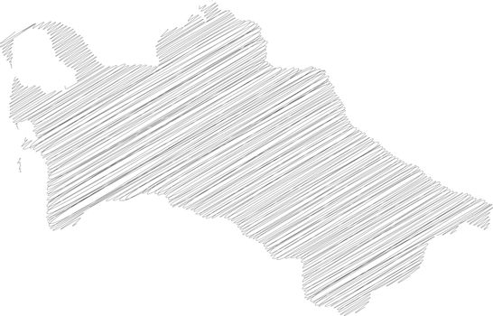 Turkmenistan - pencil scribble sketch silhouette map of country area with dropped shadow. Simple flat vector illustration