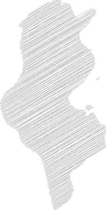 Tunisia - pencil scribble sketch silhouette map of country area with dropped shadow. Simple flat vector illustration