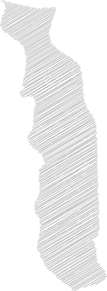 Togo - pencil scribble sketch silhouette map of country area with dropped shadow. Simple flat vector illustration