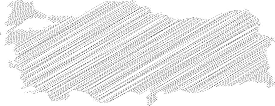 Turkey - pencil scribble sketch silhouette map of country area with dropped shadow. Simple flat vector illustration