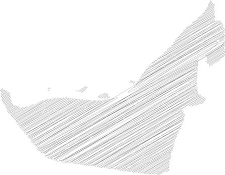 United Arab Emirates, UAE - pencil scribble sketch silhouette map of country area with dropped shadow. Simple flat vector illustration