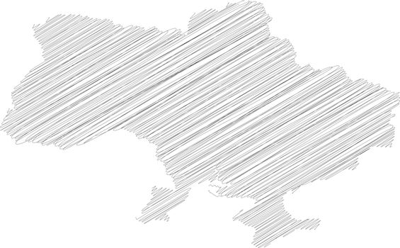 Ukraine - pencil scribble sketch silhouette map of country area with dropped shadow. Simple flat vector illustration