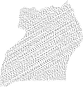 Uganda - pencil scribble sketch silhouette map of country area with dropped shadow. Simple flat vector illustration
