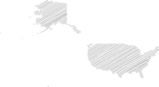 United States of America, USA - pencil scribble sketch silhouette map of country area with dropped shadow. Simple flat vector illustration
