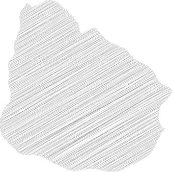 Uruguay - pencil scribble sketch silhouette map of country area with dropped shadow. Simple flat vector illustration