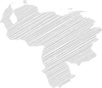 Venezuela - pencil scribble sketch silhouette map of country area with dropped shadow. Simple flat vector illustration