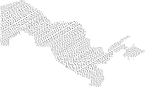 Uzbekistan - pencil scribble sketch silhouette map of country area with dropped shadow. Simple flat vector illustration