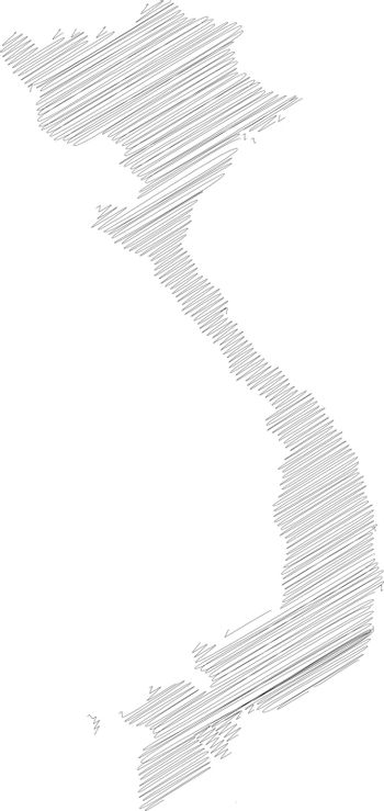 Vietnam - pencil scribble sketch silhouette map of country area with dropped shadow. Simple flat vector illustration