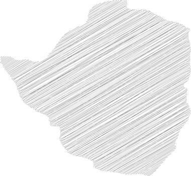 Zimbabwe - pencil scribble sketch silhouette map of country area with dropped shadow. Simple flat vector illustration