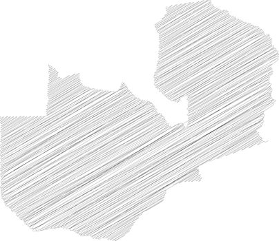 Zambia - pencil scribble sketch silhouette map of country area with dropped shadow. Simple flat vector illustration