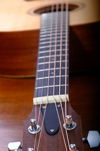Details on a nice sitka spruce acoustic guitar