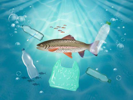 illustration of fish eats plastic in the sea