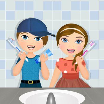 illustration of children brush their teeth