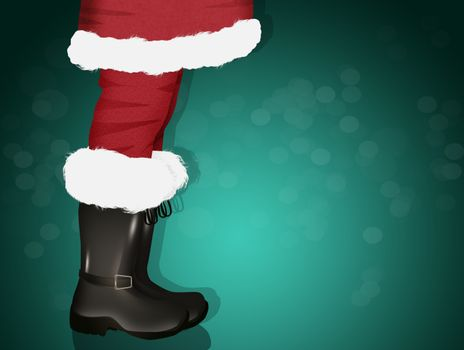 illustration of Santa's legs in boots