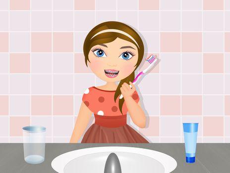 illustration of little girl brushes her teeth