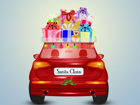 illustration of the Santa Claus car brings the gifts