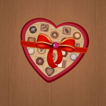 illustration of chocolates as a gift for Valentine's Day