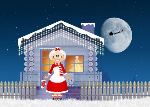 illustration of Christmas house