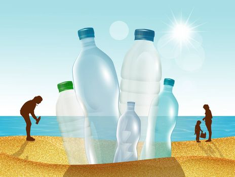illustration of plastic collection on the beach