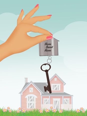 illustration of house key in hand