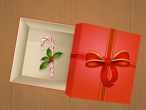 illustration of candy cane in Christmas box