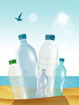 illustration of plastic bottles on the beach