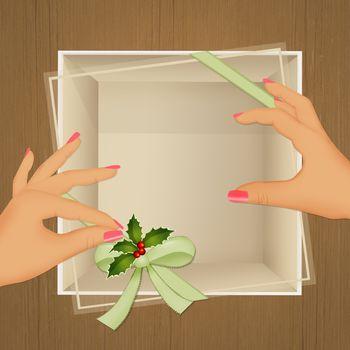 illustration of Christmas box