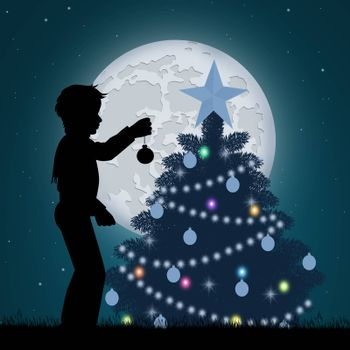 illustration of child decorate the Christmas pine tree
