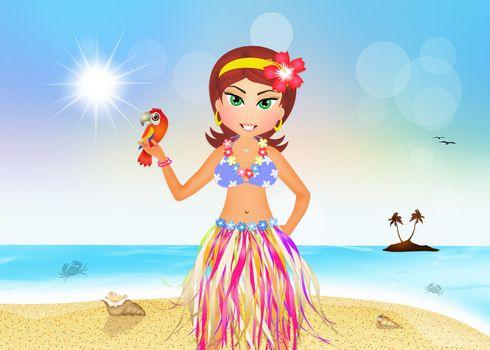 illustration of Hawaiian girl on the beach