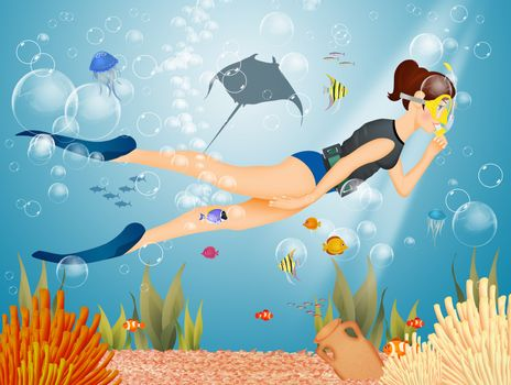 girl does snorkeling with mask and fins