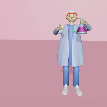 Medical scientist with a medical mask holding a glass test tube with liquid medicine or vaccine for the virus. Illustration in a cute plasticine style, 3D render volumetric view