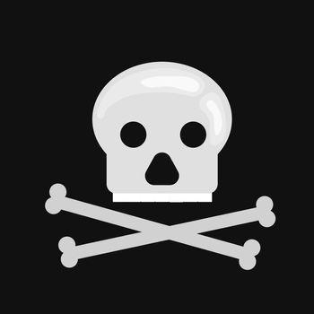 Vector skull in cartoon flat style. Dead head isolated on black background
