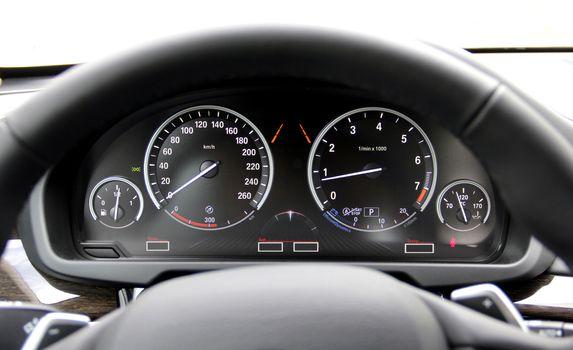 car illuminated dashboard in a hybrid car