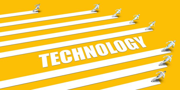 Technology Concept with Business People Running on Yellow