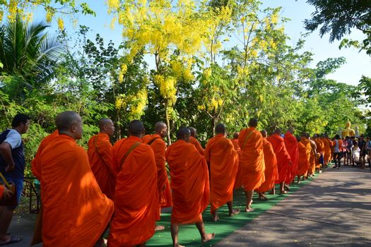 Samut Prakan,Thailand-APRIL 14,2017: Songkran Festival in the Thai-Mon style, Songkran Festival at Bang Nam Phueng, Phra Pradaeng