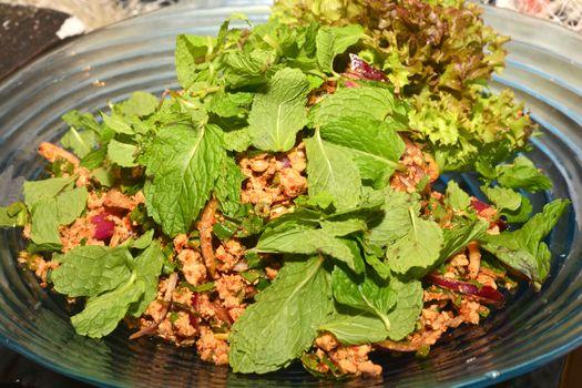 Spicy Minced Pork Salad (Thai Food)