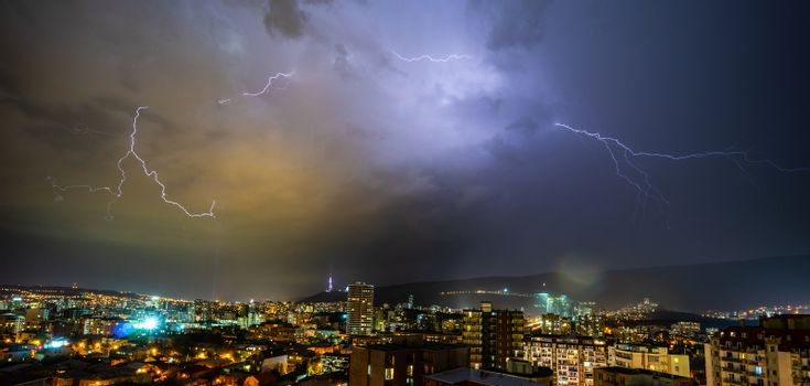 Summer storm with lightning in the night over Tbilisi's downtown, Georgia