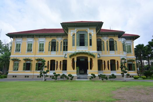 BANGKOK, THAILAND - OCTOBER 13, 2018 : Parusakawan Palace  is a historic site in Bangkok, Chitralada Villa  where Crown Prince Maha Vajiravudh stayed before his ascension to the throne as King Rama V
