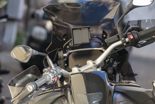 details of a parked touring motorcycle ready to travel