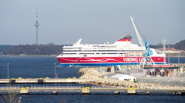 20 April 2019, Tallinn, Estonia. High-speed 10-deck passenger and car ferry of the Finnish shipping concern Viking Line Viking XPRS in the port of Tallinn.