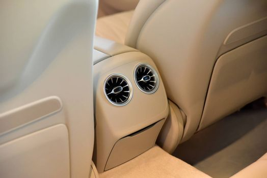 Rear passenger air vent of modern luxury car