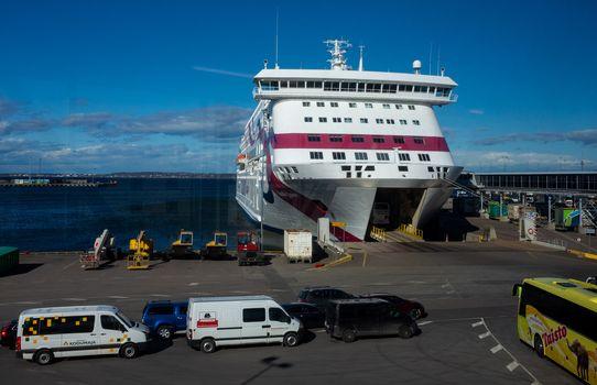 23 April 2019, Tallinn, Estonia. Passenger buss calls in high-speed passenger and car ferry of the Estonian shipping concern Tallink Baltic Queen in the port of Tallinn.