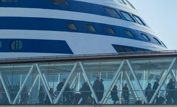 22 April 2019, Stockholm, Sweden. Passengers leave the ferry at the port terminal Vartahamnen in Stockholm.