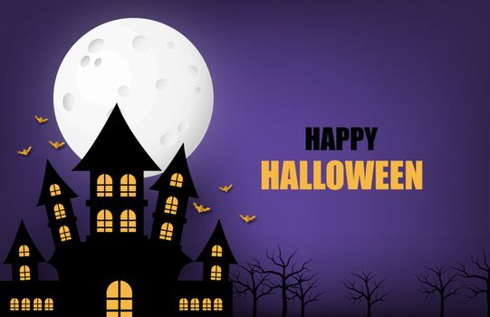 Happy Halloween banner or poster background with big moon and si