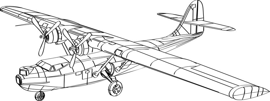 Line drawing illustration of the Consolidated PBY Catalina, a flying boat, patrol bomber and amphibious aircraft that was produced in the 1930s and 1940 done in monoline style black and white.