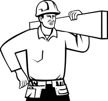 Black and white illustration of a  builder, handyman or construction worker wearing hard hat and carrying timber viewed from front on isolated background done in retro style.