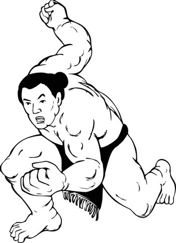 Ukiyo-e or ukiyo style illustration of a professional sumo wrestler or rikishi in fighting stance viewed from front on isolated background done in black and white.